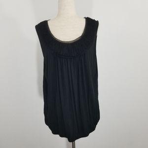 Loft Solid Black Ruched Neckline Sleeveless Top XL